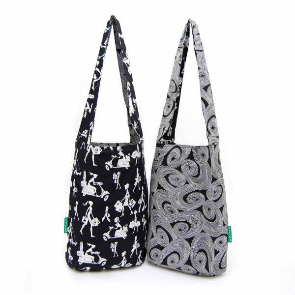 Reversible Bag - Graphic Shoppers and Swirl